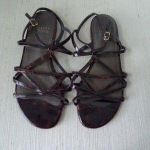 Stuart Weitzman Patent Leather Flat Sandals